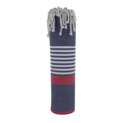 Grand Fouta Drap Plage et Hammam Coton Couleur Bleu Marine Bande Rouge Petites Rayures Turquoises 150 x 250cm