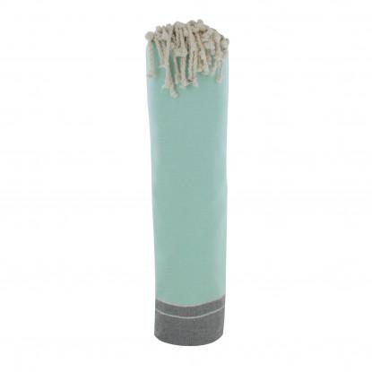 Grand Fouta Drap Plage et Hammam Coton Couleur Turquoise et Gris Foncé Petites Rayures Lurex Argent 200 x 200cm