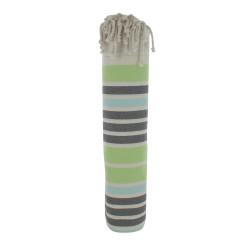Grand Fouta Drap Plage et Hammam Coton Couleur Beige Petites Rayures Vert Gris Turquoise 200 x 200cm