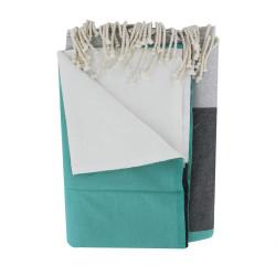 Grand Fouta Drap Plage et Hammam Coton Grandes Rayures Blanc Gris Vert 200 x 300cm