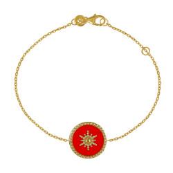 Bracelet Plaqué Or Soleil Émail Corail