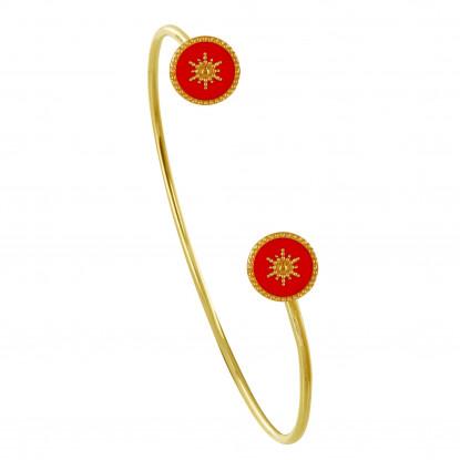 Bracelet Demi Jonc Plaqué Or Soleil Émail Corail