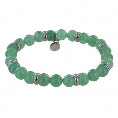 Bracelet Elastique Anneau Acier et Perles Quartz Vert