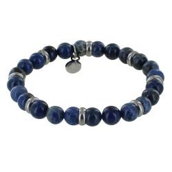 Bracelet Elastique Anneau Acier et Perles Jaspe Bleu