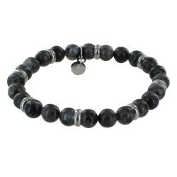 Bracelet Elastique Anneau Acier et Perles Labradorite