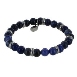 Bracelet Elastique Anneau Acier et Perles de Sodalite