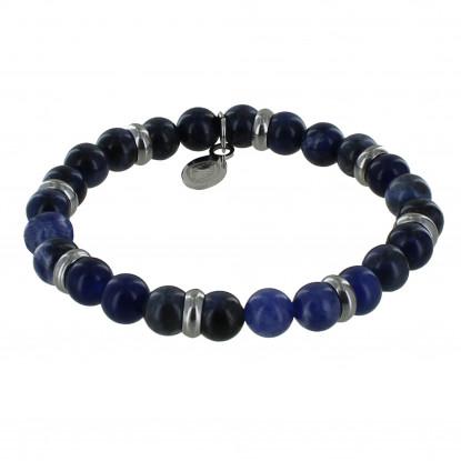 Bracelet Elastique Anneau Acier et Perles Aventurine Bleue