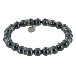 Bracelet Elastique Anneau Acier et Perles Hématite