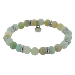 Bracelet Elastique Anneau Acier et Perles Amazonite