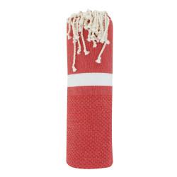 Fouta Drap Plage et Hammam Coton Nid d'Abeille Rouge Bande Blanche 100 x 200cm