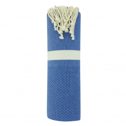 Fouta Drap Plage et Hammam Coton Nid d'Abeille Bleu Bande Blanche 100 x 200cm