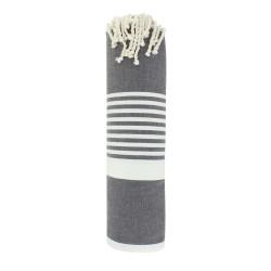 Grand Fouta Drap Plage et Hammam Coton Couleur Gris Foncé Bande et Petites Rayures Blanches 150 x 250cm