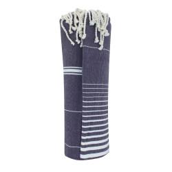 Grand Fouta Drap Plage et Hammam Coton Couleur Bleu Marine Lignes et Rayures Blanches 150 x 250cm