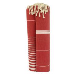 Grand Fouta Drap Plage et Hammam Coton Couleur Rouge Lignes et Rayures Blanches 150 x 250cm