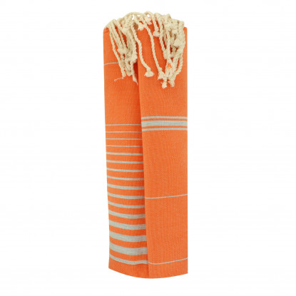 Grand Fouta Drap Plage et Hammam Coton Couleur Orange Lignes et Rayures Gris Argent 150 x 250cm