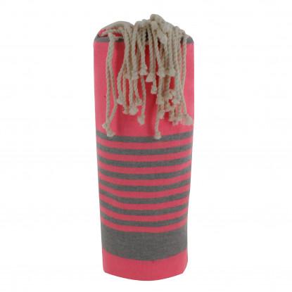 Fouta Drap Plage et Hammam Coton Rose Fluo Bande et Petites Rayures Grises 100 x 200cm