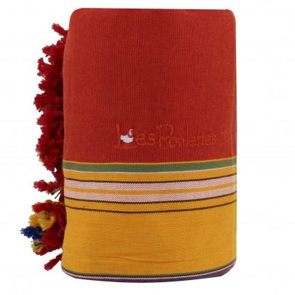 Kikoy Serviette Plage Coton Couleur Rouge Orange Eponge Jaune