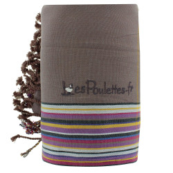 Kikoy Serviette Plage Coton Couleur Marron Eponge Rose