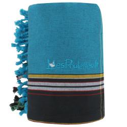 Kikoy Serviette Plage Coton Couleur Turquoise Eponge Grise
