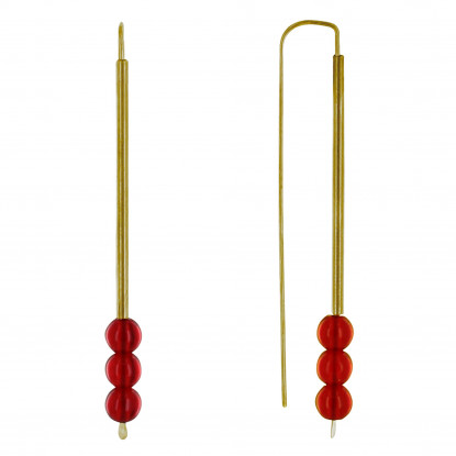 Boucles d'Oreilles Laiton Crochet Tubulaire et Trois Perles de Verre