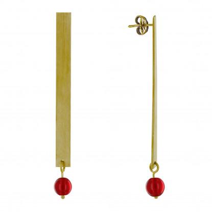 Boucles d'Oreilles Clous Laiton Rectangle Plat et Perle de Verre