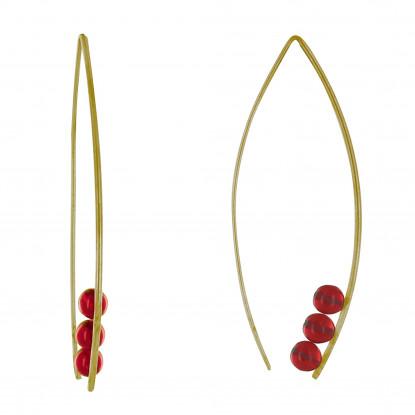 Boucles d'Oreilles Laiton Grand Crochet et Trois Perles de Verre
