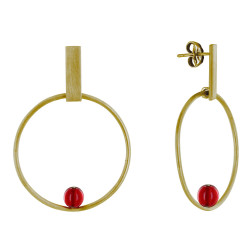 Boucles d'Oreilles Clous Laiton Rectangle Plat Cercle et Perle de Verre