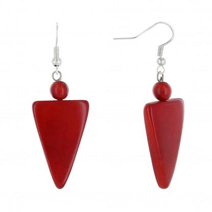 Boucles d'Oreilles Perle et Triangle en Tagua