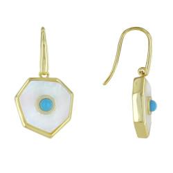 Boucles d'Oreilles Argent Doré Heptagone Nacre et Perle Turquoise