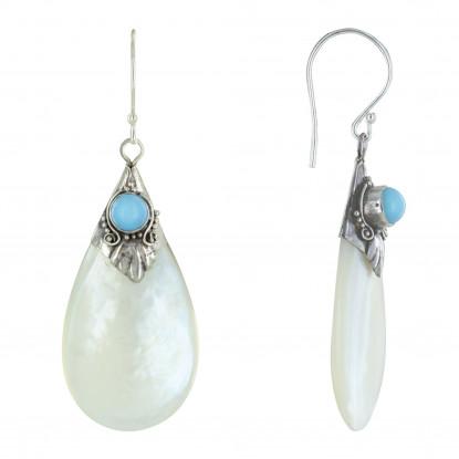 Boucles d'Oreilles Argent Perle Turquoise et Goutte de Nacre Ivoire