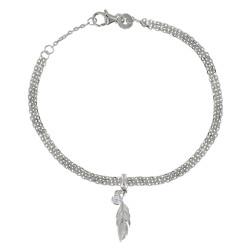 Bracelet Argent Rhodié Triple Chaines Plume et Strass