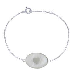 Bracelet Argent Petit Coeur et Ovale de Nacre