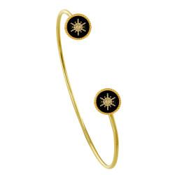 Bracelet Demi Jonc Plaqué Or Soleil Émail Noire