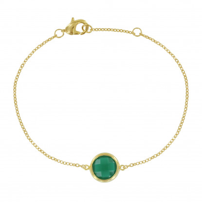 Bracelet Argent Doré Rond Facetté Vert