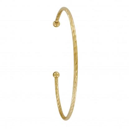 Bracelet Plaqué Or Demi Jonc Zébré Deux Perles