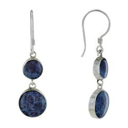 Boucles d'Oreilles Argent et Deux Pastilles Coquillage Teinté Bleu