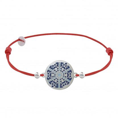 Bracelet Lien Elastique Rouge Médaille Argent Rhodié Flocon Émail Bleue