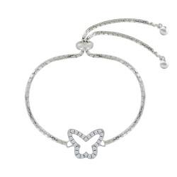 Bracelet Argent Rhodié Réglable Papillon Ajouré et Strass