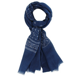 Echarpe Cachemire Et Modal Motifs Triangles Bleu