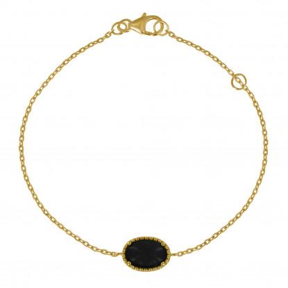 Bracelet Plaqué Or Ovale d'Agate Noire