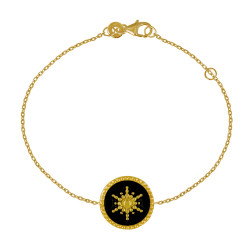 Bracelet Plaqué Or Soleil Émail Noir