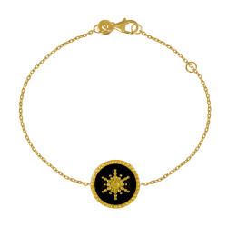 Bracelet Plaqué Or Soleil Émail Noire
