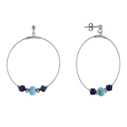 Boucles d'Oreilles Argent Créoles Anneau de Larimar et Deux Cubes de Lapis Lazuli