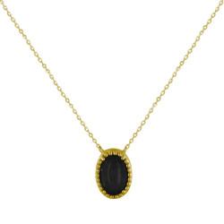 Collier Plaqué Or Ovale d'Agate Noire