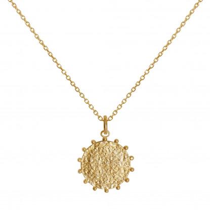 Collier Plaqué Or Médaille Martelée et Billes