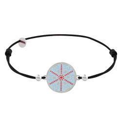 Bracelet Lien Elastique Noir Médaille Argent Rhodié Flocon Émail Bleu et Rouge