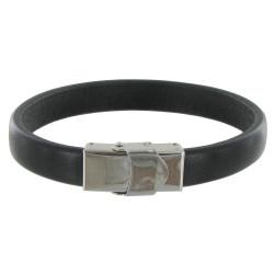Bracelet Enfant Cuir Noir Large Fermoir Acier Inoxydable