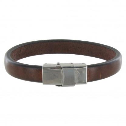 Bracelet Enfant Cuir Marron Foncé Large Fermoir Acier Inoxydable