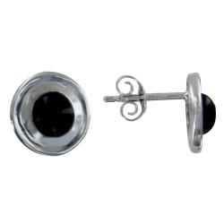 Boucles d'Oreilles Argent Puces Disque en Argent et Perle d'Agate Noire