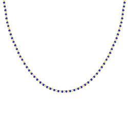 Collier Plaqué Or Perles Email Bleu